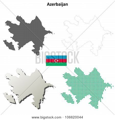 Azerbaijan outline map set