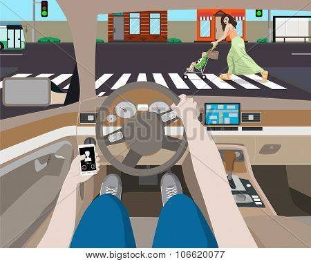 The driver was distracted by ringing phone and noticed a woman with a stroller on the road. Vector i