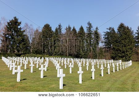Graves at the American military cemetery in Sandweiler, Luxembourg