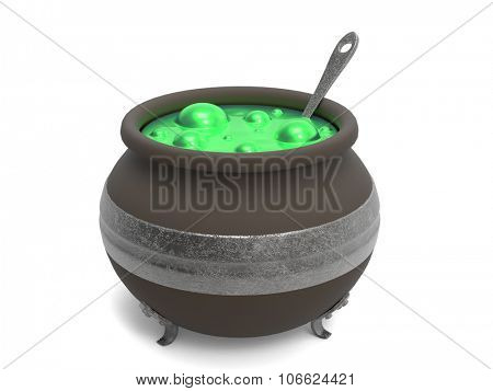 Spooky witch's cauldron with green bubbling cooking on white
