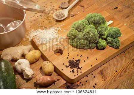 Cooking Scene - Preparing A Broccoli On A Countertop