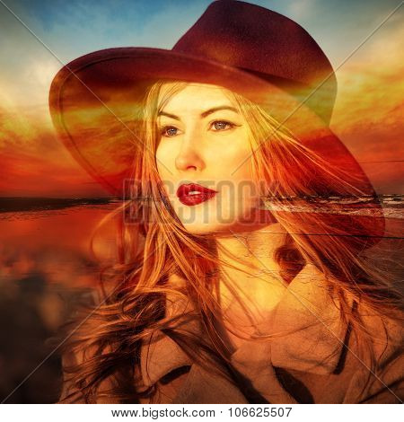 Beautiful woman dreamer on beach at sunset time