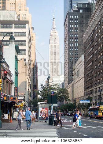 NEW YORK,USA - AUGUST 17,2015 : Street scene with people and famous buildings in midtown New York City