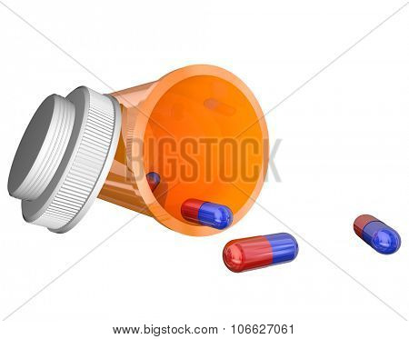 An open prescription medicine bottle on its side and spilled, with blue and red capsules or pills and isolated