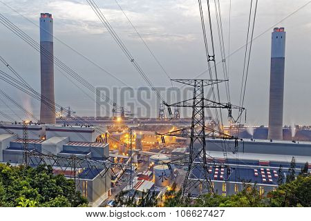 Power station and tower grey cloud
