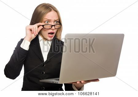 Pretty office employee with laptop isolated on white