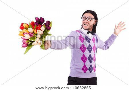 Man holding tulips isolated on white
