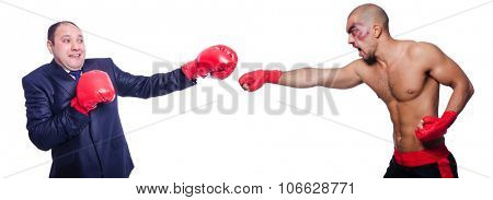 Businessman and sportsman boxing isolated on white