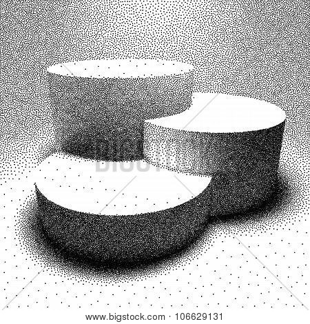 Vector 3D pedestal made with dotwork style