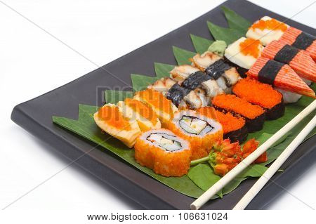 The Composition Of Nigiri Sushi On White Background