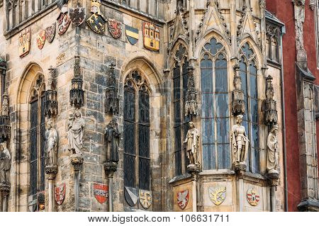 Wall of Prague town hall with astronomical clock, or Prague orlo