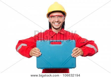 Man wearing red coveralls isolated on white