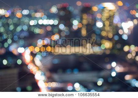 City lights at nights, abstract blurred bokeh light background