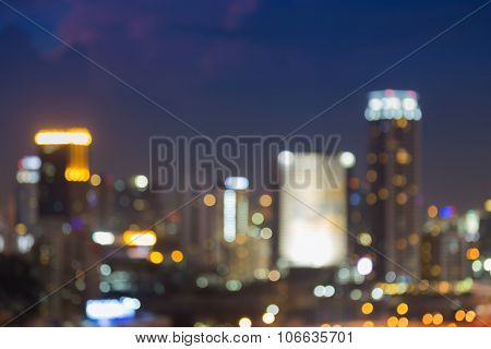 Blurred bokeh light city at night