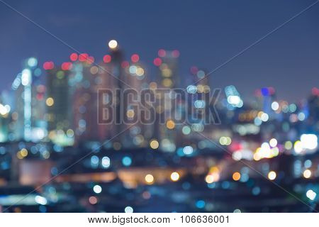 Blurred bokeh city light night view
