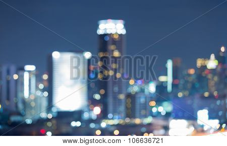 Night view of blurred cityscape lights