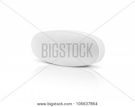 White Medicine Tablet Isolated On White Backgrounnd