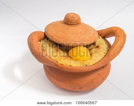 Thai Dessert (khanom Wan Thai) Name Is Coconut Custard Squares In Brown Pottery Pots.has Golden Thre