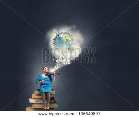 Middle aged stout woman in blue dress sitting on books and playing violin. Elements of this image are furnished by NASA