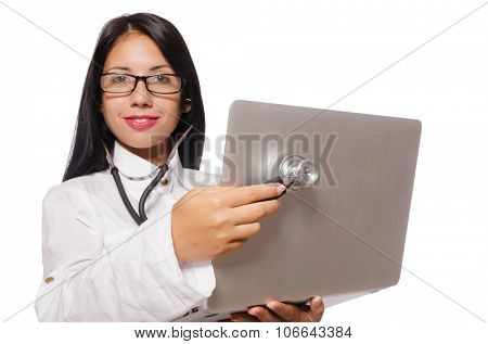 Woman in IT security concept