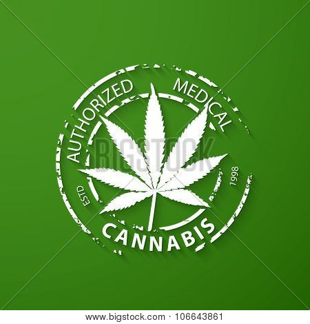Authorized Medical Cannabis Grunge Rubber Stamp