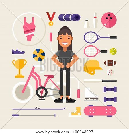 Set Of Vector Icons And Illustrations In Flat Design Style. Female Cartoon Character Sportsman Surro