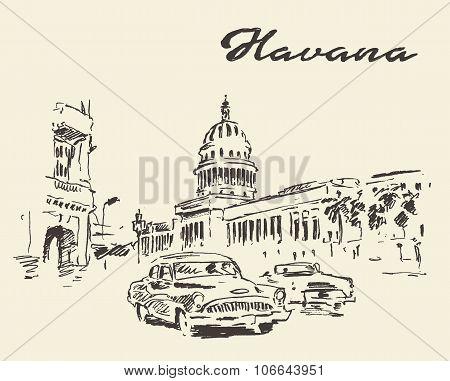 Havana old cars vintage illustration drawn sketch