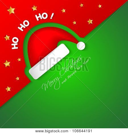Merry Christmas Card With Santa Hat