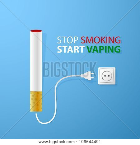 Stop smoking.Start vaping.Electronic cigarette plugged in socket