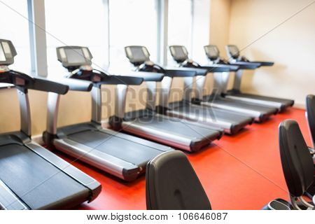 Treadmills all in a row at the gym