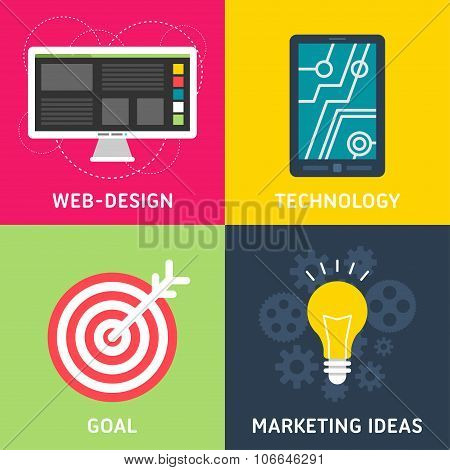 Set Of Flat Design Vector Business Illustrations. Web Design, Technology, Goal, Marketing Ideas