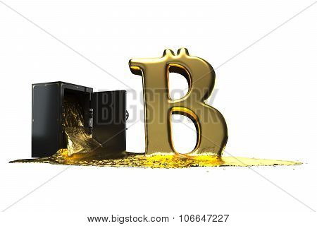 Bitcoin symbol derives from the safe. Path included. Perfect for advertising models. Save in days of