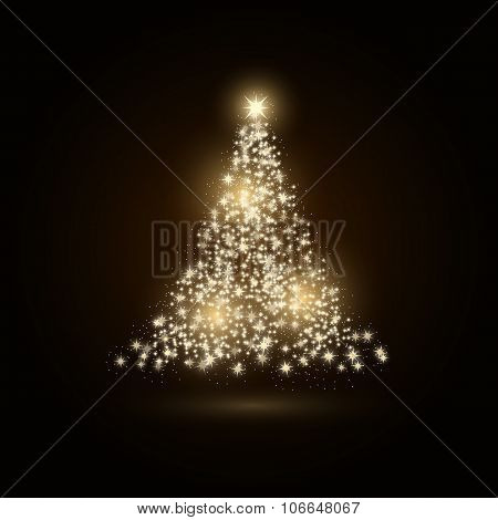 Christmas tree made with gold sparkles