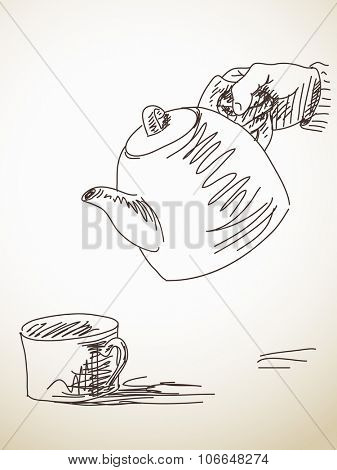 Pour tea from teapot into cup, Vector sketch, Hand drawn illustration