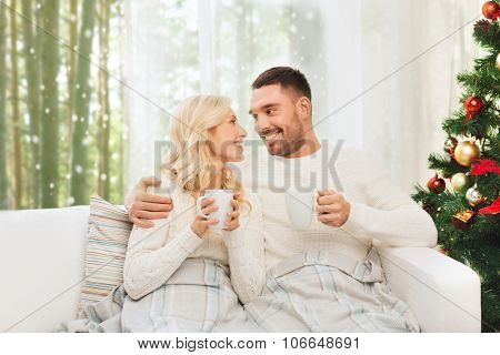 family, christmas, holidays, love and people concept - happy couple covered with plaid drinking tea and sitting on sofa at home over winter forest and snow background