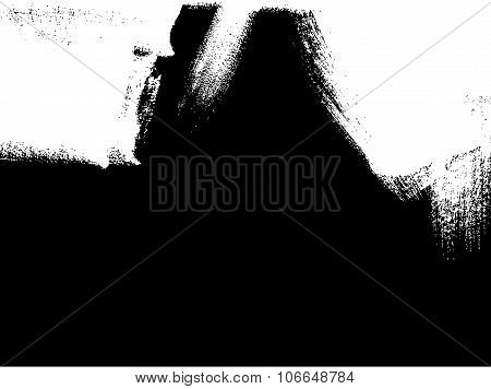 White Brush Stroke Element On Black Background