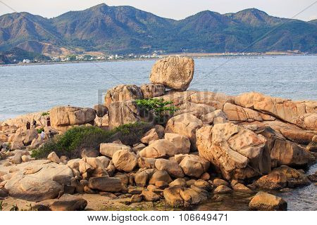 Pile Of Stones Like Animal From Beach Towards Sea Water