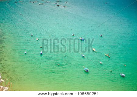 Upper View Of Fishing Tourist Boats In Azure Sea Bay