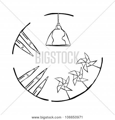 Chandelier-lamp, pencils and paper weather vane. Round pattern. Decorative frame. Hand drawn.