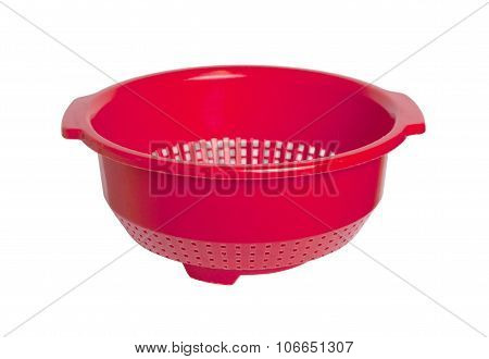 Red Empty Colander Isolated