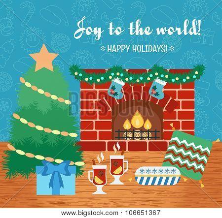 Christmas Attributes. Christmas Gift Card. Joy To The World. Flat Design. Vector