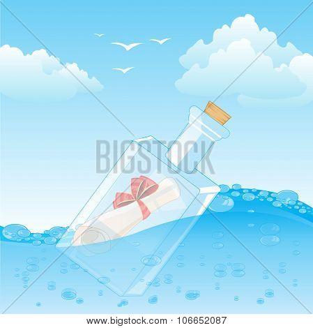 Bottle With Note In Ocean
