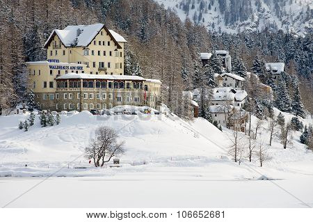 View to the Waldhaus am See hotel in Saint Moritz, Switzerland.