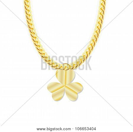 Gold Chain Jewelry whith Three Leaf Clover. Vector Illustration.