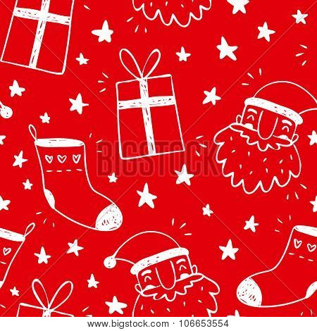 Sketchy Vector Seamless Pattern With Santa Claus, Socks And Gifts