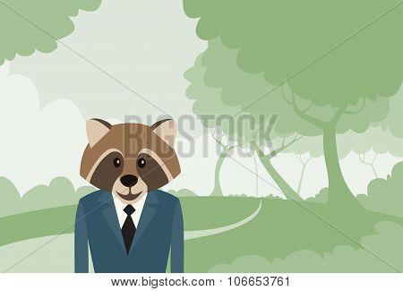 Raccoon Head Cartoon Businessman Suit Profile Icon Portrait Business