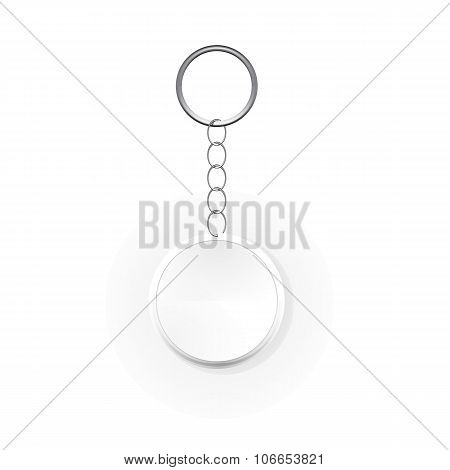Template Keychain Keys on a Ring with a Chain. Vector Illustrati