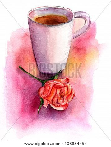 A watercolor drawing of a cup of tea with a tea rose on a colorful artistic background