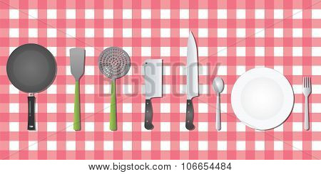 kitchen set tools utensil on table