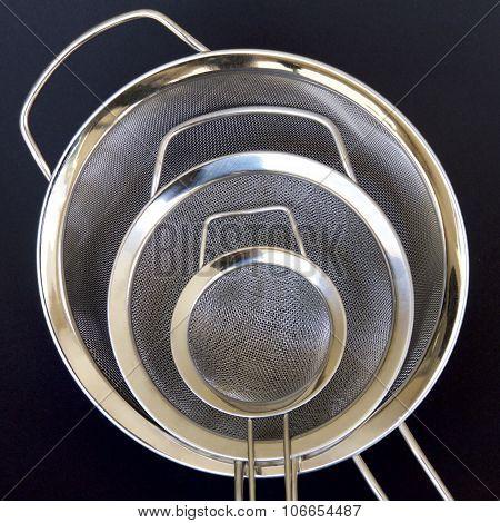 Three Kitchen Sieves